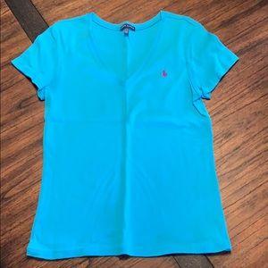 Ladies aqua blue t shirt